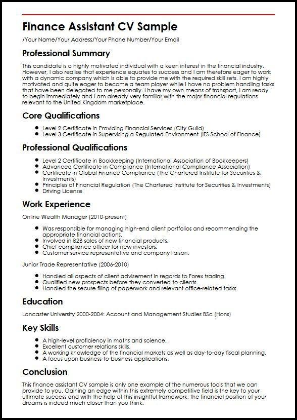 Finance Assistant Cv Sample Myperfectcv Job Resume Samples Manager Resume Resume Examples