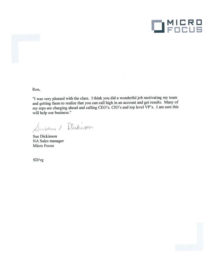 Testimonial Letter about AYSR's #Sales #Training Workshops. www.aysalesresults.com