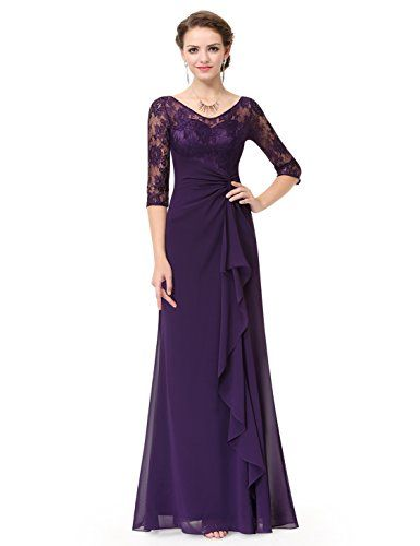 Ever Pretty Womens Floor Length Sexy V-Neck Back Ruched Waist Bridesmaid Dress 4 US Dark Purple $89.99