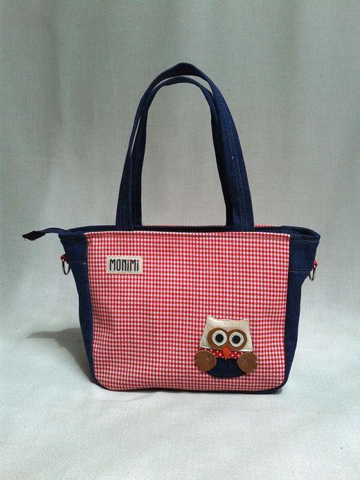 #Farmervászon és piros-fehér #kockás anyag kombinációjával készült ez a kényelmes táska. Kicsi, #cuki #bagoly díszíti, de készülhet más motívummal is! City-bag női #táska.