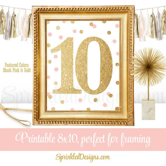 10th Birthday Party - Tenth Birthday - Number Ten 10 Sign - Blush Pink Gold…
