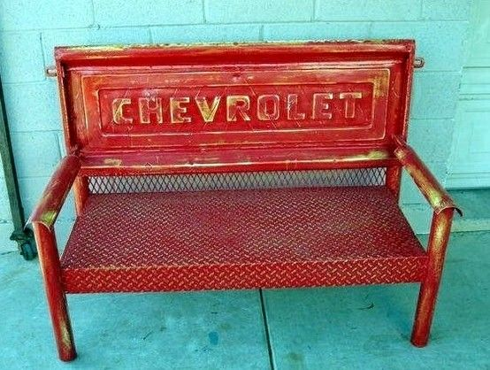 Here is a nearly indestructible metal bench made from a Chevrolet truck tail gate and metal.  Wouldn't this look great on the porch or in the shop?