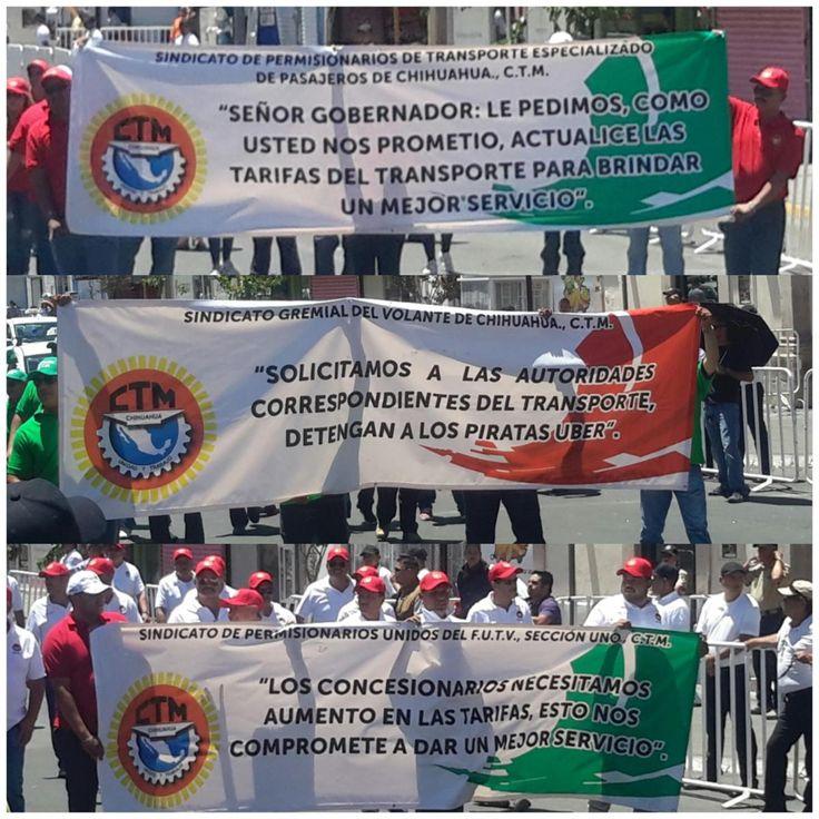En desfile del 1 de Mayo concesionarios exigen a Corral actualización de tarifas del transporte urbano y taxistas que detenga a piratas UBER | El Puntero