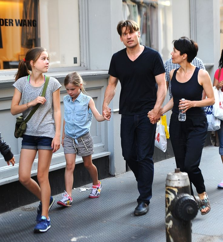 Coster Waldau (Jaime Lanister) and family.  Wife Nukaka and two daughters.