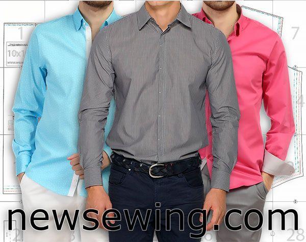 Выкройка мужской сорочки в четырех размерах Готовая выкройка мужской сорочки с длинным рукавом. Это классический фасон мужской сорочки с отложным воротником на отрезной стойке, с длинными рукавами на манжетах, застежка – планка посередине переда на петли и пуговицы. http://www.newsewing.com/view_post.php?id=577
