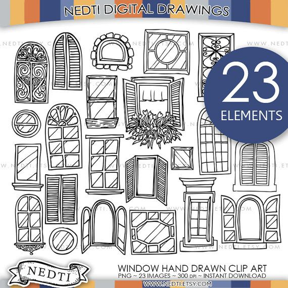 Windows Doodle Clip Art, Window Clipart, Digital Images, PNG, High Resolution, Door, House, Hand drawn, Sketched, Illustrated, Downloadable