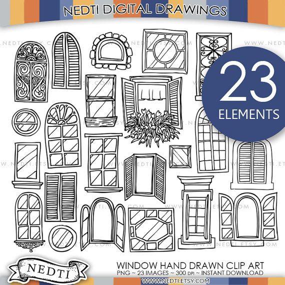 Windows Doodle ClipArt, Fenster Clipart, Digitalbilder, PNG, hochauflösend, Tür, Haus, handgezeichnete, skizzierte, Illustrated, zum herunterladen