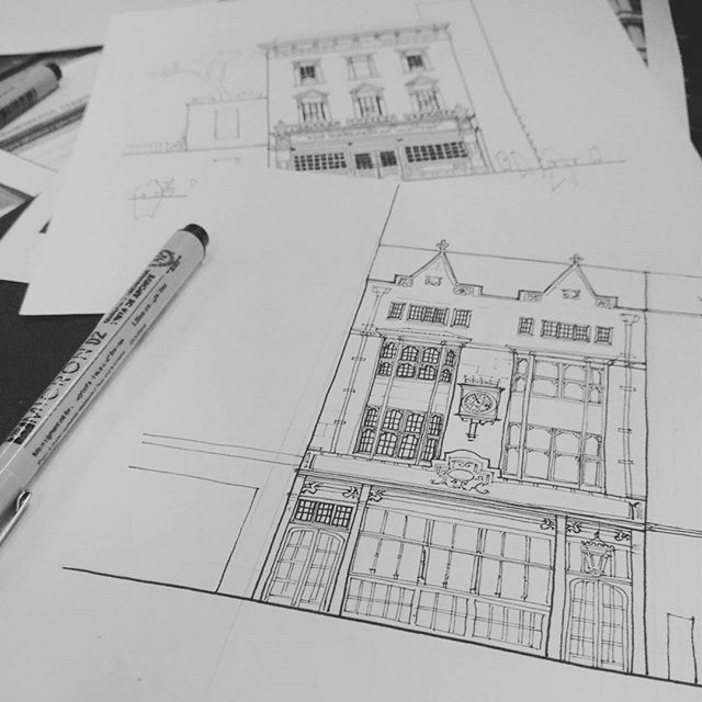 Workworkwork :) pubpubpub # . #London #cittieofyorke #architecture #facade #illustration #linework