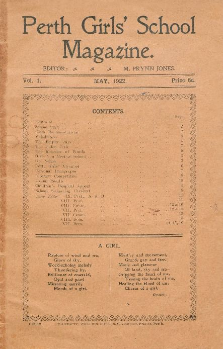 Perth Girls' School magazine, 1922.  http://encore.slwa.wa.gov.au/iii/encore/record/C__Rb1847890__Sschool%20magazines__P0%2C3__Orightresult__U__X3?lang=eng&suite=def