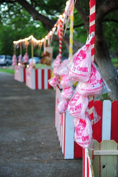 Carnival Birthday Party Theme.  What kid wouldn't love to have a carnival party!    Great idea!  Booths can be made out of old wood pallets and Xmas lights.  You can set up games with prizes, food & beverage booths.  Best of all, adults can run the booths and supervise the party at the same time!
