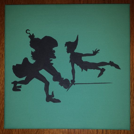 Disney Silhouette Painting  Peter Pan and Captain Hook by ListfulLife, $15.00