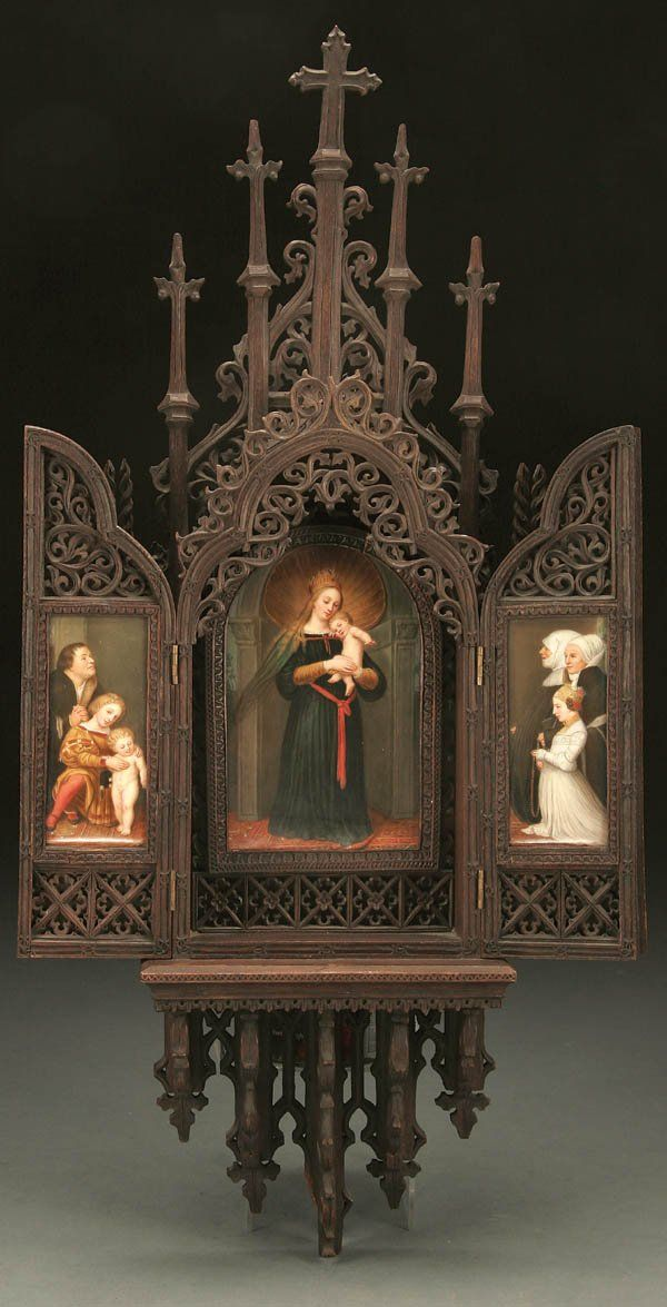 NEO GOTHIC KPM STYLE CARVED AND H/P PORCELAIN TRIPTYCH : Lot 390