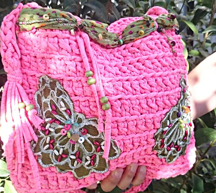 Boho Bag, Pink Crochet Bag, Crossbody Bag, Shoulder Bag, Pink Cotton Bag, Hippie Style Bag, Girls Gift, Gifts Girl, Gypsy Accessories, Women by LTLDizaynDIY on Etsy