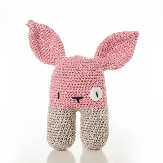 handmade crochet Baby Rattle Bunny pink newborn von beaniefabrik