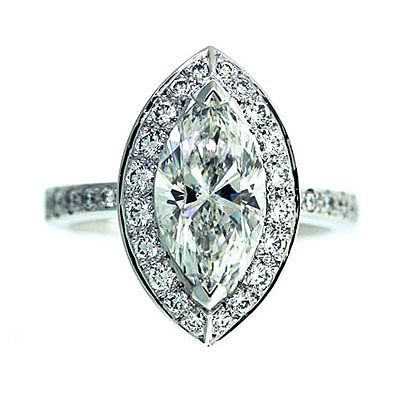 'Halo' Engagement Ring - Marquise Diamond - Diamond Imports