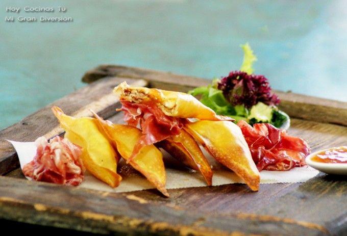 Crujientes de foie gras y queso de cabra