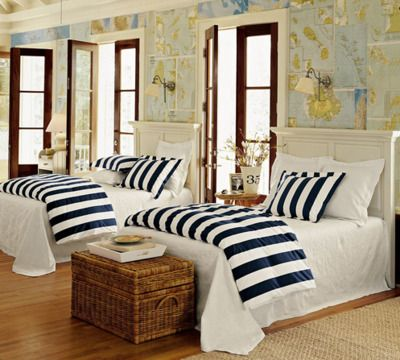 Maps & Nautical Stripes.: Guestroom, Guest Room, Beach House, Guest Bedrooms, Boy Rooms, Maps Wallpapers, Nautical Bedroom, Stripes, Boys Room