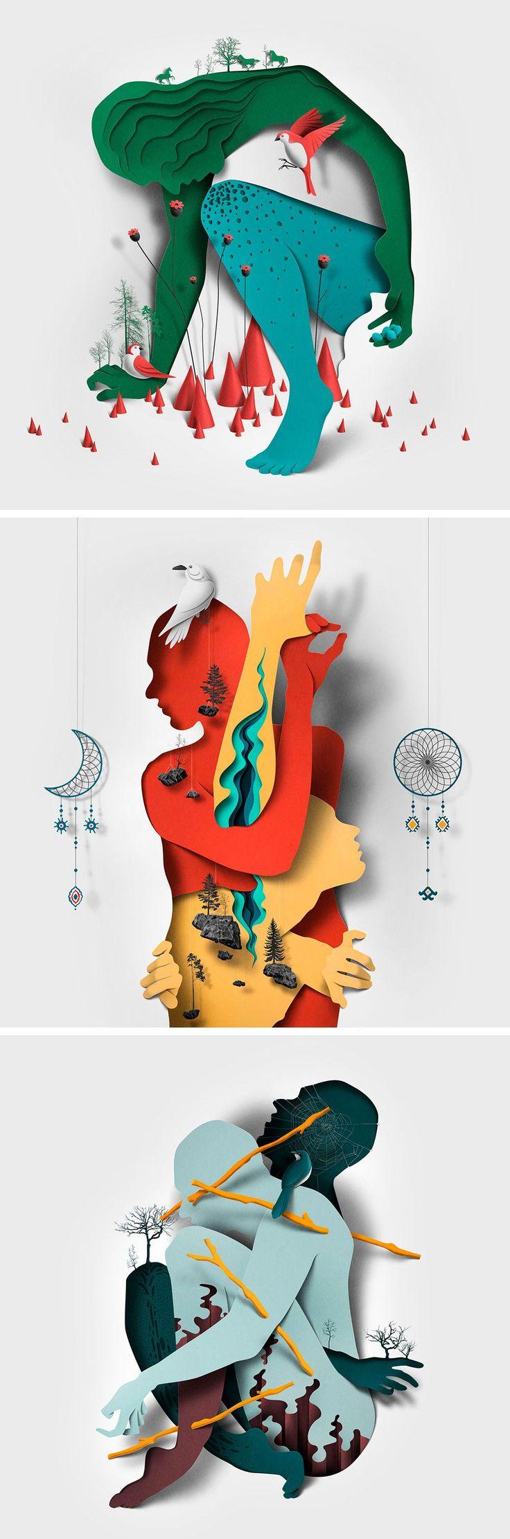 Neue redaktionelle Illustrationen mit Papierbeschneidungen und Schatten von Eiko Ojala