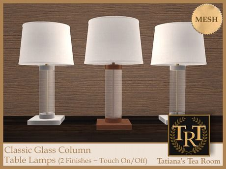 Classic Glass Column Table Lamps   #SecondLife