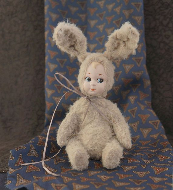 Easter Bunny with Teddy-doll with antique by RussianshawlRustic