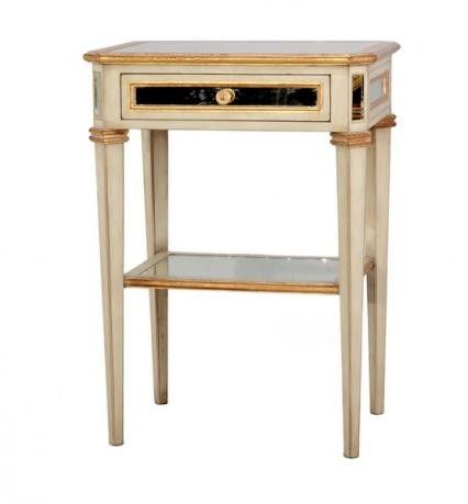 Vintage French Mirrored Side Table with Shelf