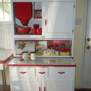 White Hoosier Cabinet With Flour Sifter And Red Dinnerware , Hoosier Cabinet Furniture In Furniture Category