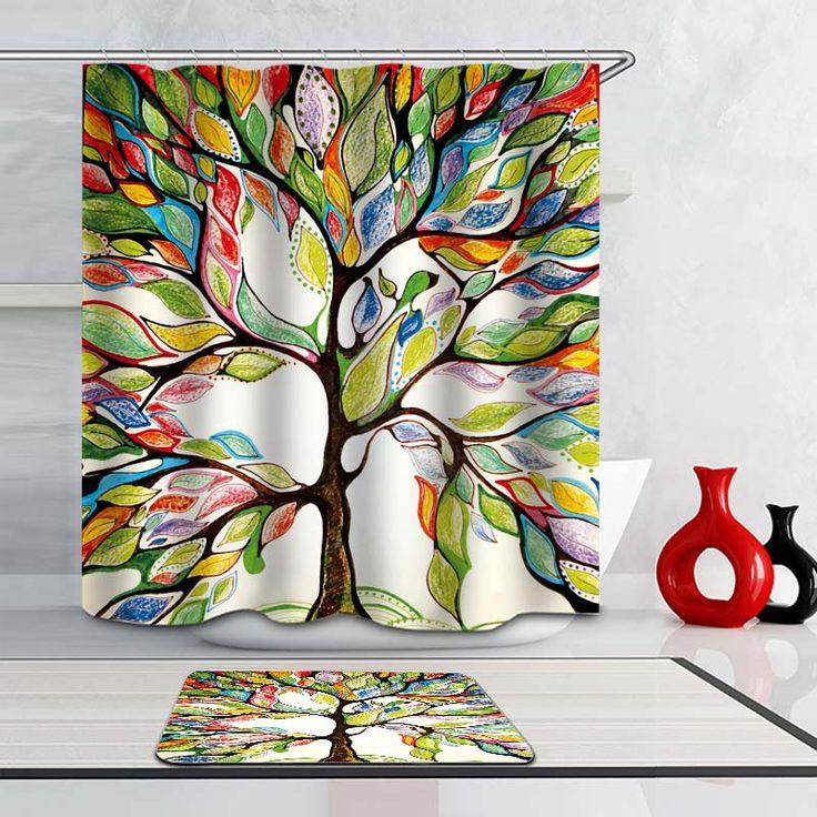 une vie quotidienne color e avec ce rideau de douche arbre. Black Bedroom Furniture Sets. Home Design Ideas