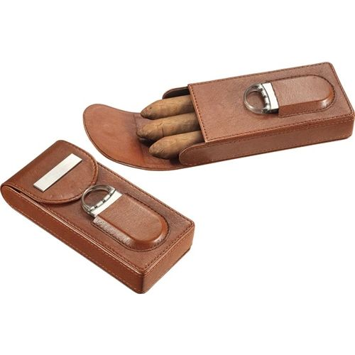 Opentip.com: Visol Caldwell Brown Leather Cigar Case with Cigar Cutter