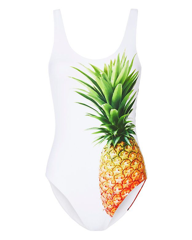 Onia Pineapple Print Swimsuit: Who is ready for a pina colada? Because that's all that will be on our minds once we adorn this pineapple print one-piece swimsuit. Tank straps. Low cut back. Lined. In white. Fabric: 87% nylon/13% spandex Lining: 86% nylon/4% spandex  Imported. Model ...