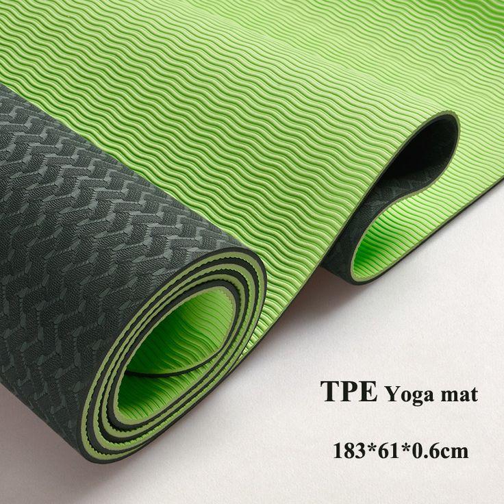6mm tpe antislip yoga matten fitness drie onderdelen milieu smaakloos colchonete fitness yoga gym oefening matten (183*61*0.6 cm)