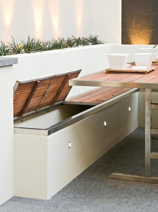 Outdoor Living. Built in storage benches with outdoor accent lighting. Patio furniture & home decor DIY design inspiration.