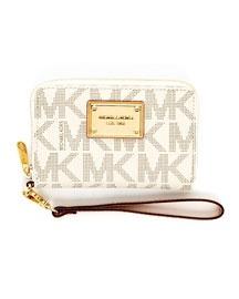 V13MK MICHAEL Michael Kors  iPhone Logo Zip Wallet, Vanilla or Brown