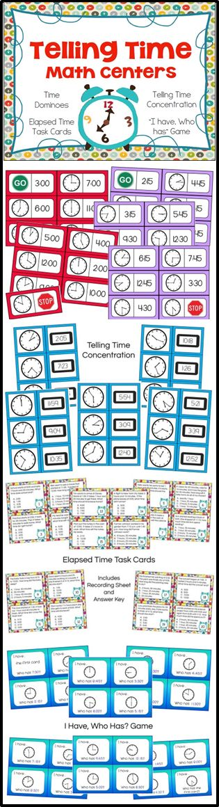 Telling Time Bundle - 40 pages of math centers and games for learning to tell time
