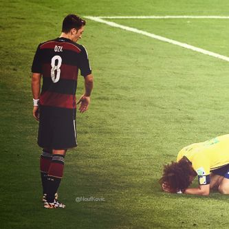 Mesut Özil and Brazil's David Luiz