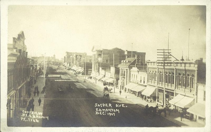 Jasper Ave.  December 1907.  Image Courtesy of Vintage Edmonton   https://www.facebook.com/TheVintageEdmonton
