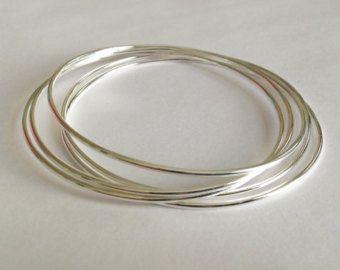 Pulsera sólido conjunto de 5 llenada de plata brazalete pulseras lisa simple brazaletes 1mm redondo brazalete pulseras lisa plata brillante