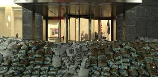 Paura di quel che non si domina, non si compra, non parla la stessa lingua  (Sacchi di sabbia al Quartier Generale della Goldman Sachs in Lower Manhattan).  Ph: Michael Appleton