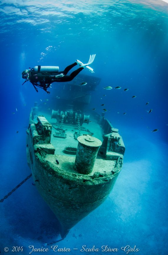 Wreck diving the Kittiwake The Kittiwake wreck is located in Grand Cayman and was originally launched in 1945 and sunk purposely in 2011 as an artificial reef. She's 251 feet long and lies in 64 feet of water with the tallest point of the ship being only about 15 feet from the surface.
