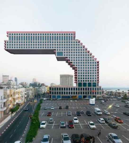 Unique buildings......is it for real? not photoshopped? Amazing cantilevered building then -YL