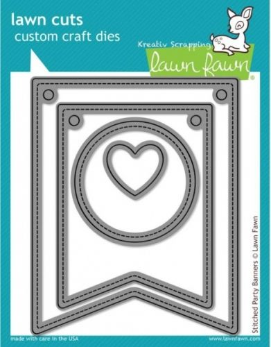 LAWN FAWN DIES LF687 - STITCHED PARTY BANNERS DIESfra LAWN FAWN,koordinerer med diesLF688 og LF689.LAWN FAWN - Lawn Cuts Custom Craft Dies -High quality steel craft dies. Some coordinate with stamp sets for even more creative choices.These dies are made of 100% high quality steel; are compatible with most die-cutting machines; and will inspire you to create cute crafts! This set coordinates with the dies LOUIES ABC's and 123s sets. Flere spennende produkter fra denne leverandøren f...
