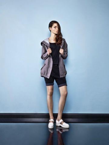 FEMALE LINEN DARK GREY PARKA Parka with oversized hood. Oversized hood jacket. Grey jacket Perfect jacket
