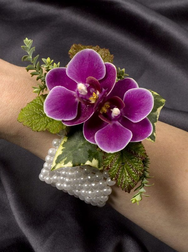 orchids on a wristlet