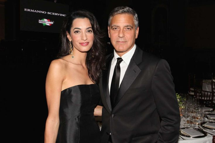Amal Alamuddin and George Clooney - Andrew Goodman/Getty Images for Celebrity Fight Night