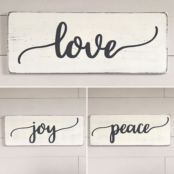 Rustic wood signs, love joy peace signs » size 9.25 x 24 (each) » painted lettering » background color options: off-white or white (white is a new color option as of 4/26/17) » lettering color: charcoal gray » wire hanger installed on back for easy hanging » made from 3/4 thick white pine wood; there may be knots and imperfections in the wood » gently distressed for a warm feel » Our signs are made for interior decorating; no clear coat is added. » If youd like to purchase mor...