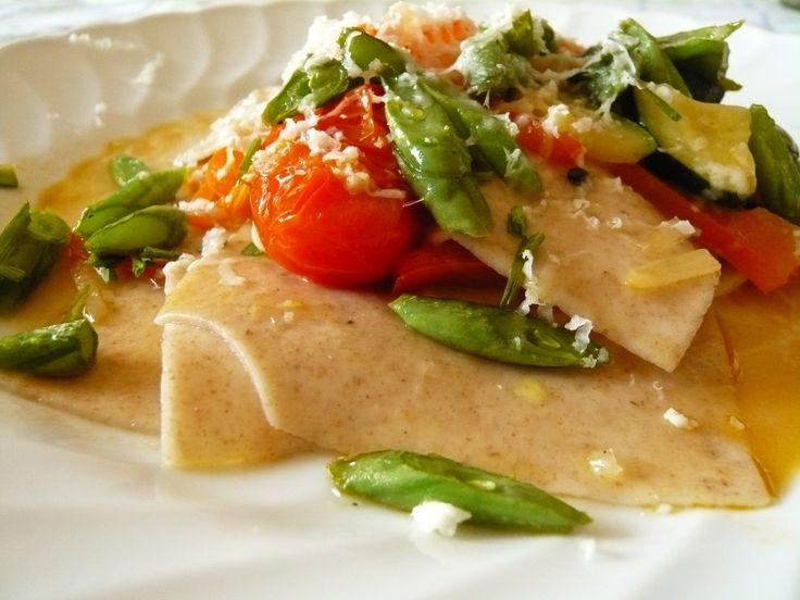 Tacconi di Farro con verdure e fagiolini croccanti