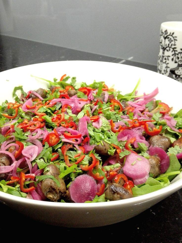 Delish chicken heart salad by Mexican restaurant Panza!