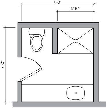 Three quarter bath floor plan small bathroom pinterest - Small half bathroom layout ...