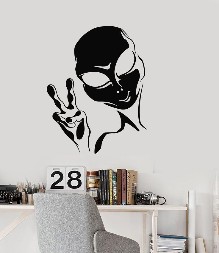 Vinyl Wall Decal Alien Peace Sign UFO Teen Room Area 51 Stickers Mural (ig5176)