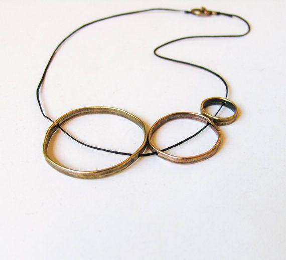 Circle Necklace, 3 Circle Necklace, Karma Circle Necklace, Minimalist Design Necklace, Geometric Statement Necklace, Bronze Mothers Necklace