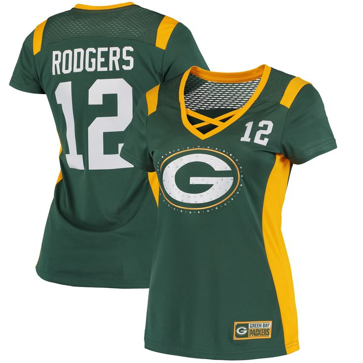 Aaron Rodgers Green Bay Packers Majestic Women's Draft Him Name & Number Fashion T-Shirt - Green